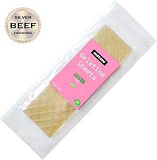 Haodong Beef Silver Leaf Gelatin Sheets - 180 Bloom (20 Sheets, 50g) - Unflavored Gelatin Leaves for Baking and Cooking