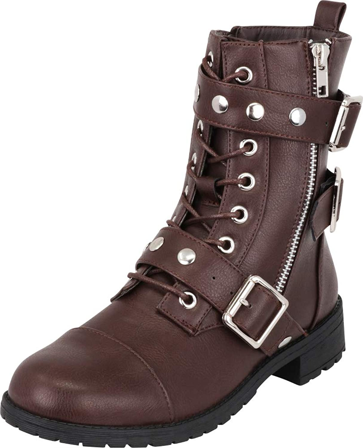 Cambridge Select Women's Moto Studded Strappy Buckle Lace-Up Combat Boot