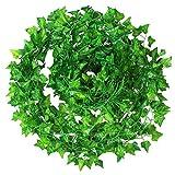 Netspower 12 Unids Plantas Colgantes Artificiales Hiedra Artificial Hiedra Colgante Guirnalda Hojas de Hiedra Guirnalda de Plástico para Casa de Boda Decoración de Fiesta de Jardín
