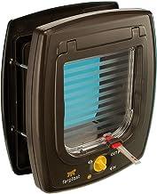 Ferplast Gatera con Sistema magnético Swing 7 Puerta basculante para Gatos, Entrada y Salida controlable, Sistema de protección, Collar para Gatos con imán Incluido, 22,5 x 10,4 x h 25,2 cm Marrón
