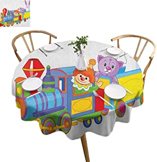 ScottDecor Nursery Circular Table Cover Clown Cat and Bunny Sitting in The Train Kids Toys Cartoon Style Funny Cheerful Dining Round Tablecloth Multicolor Diameter 36