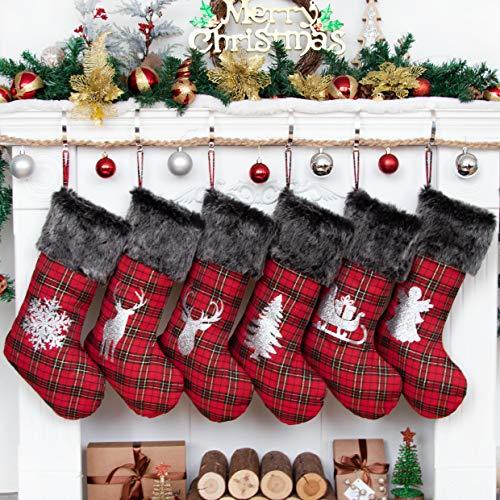 Beyond Your Thoughts 2020 Nikolausstiefel zum Befüllen 6er Set Nikolausstrumpf Weihnachtsstrumpf Kamin Christmas Stockings Groß für Kinder Familien Rentier Weihnachtsmann Schlitten
