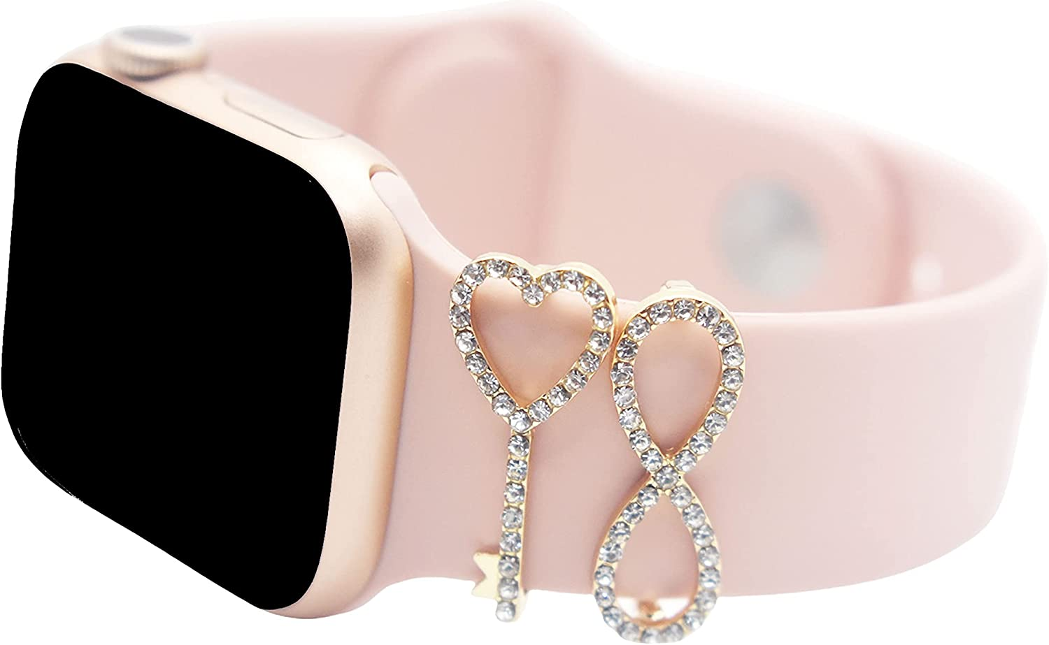 Smart Watch Decorative-Rings-Loops Trendy Charms Figure Shaped Rhinestone Charms Compatible with Apple watch 38mm 40mm 42mm 44mm Sparkles Jewelry-Accessories-Charms for Watch Band Series 6/5/4/3/2/1 2 2PCS Smart Apple Watch Accessories