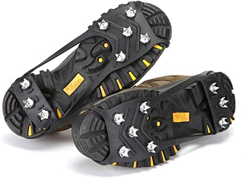 lowest OPTIMISTIC Ice Cleats Traction sale for Hiking Boots Shoe Ice and Snow discount Grips Crampons Anti-Slip 8 Steel Spikes for Men and Women Hiking Walking Fishing Boots Covers, US 8-12 online sale