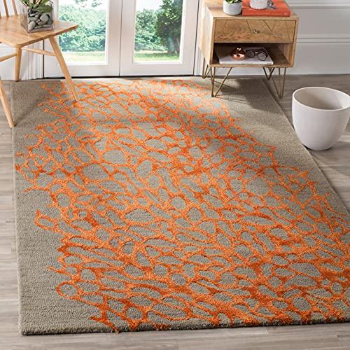 Safavieh Blossom Collection BLM695C Handmade Premium Wool & Viscose Area Rug, 8' x 10', Grey / Orange