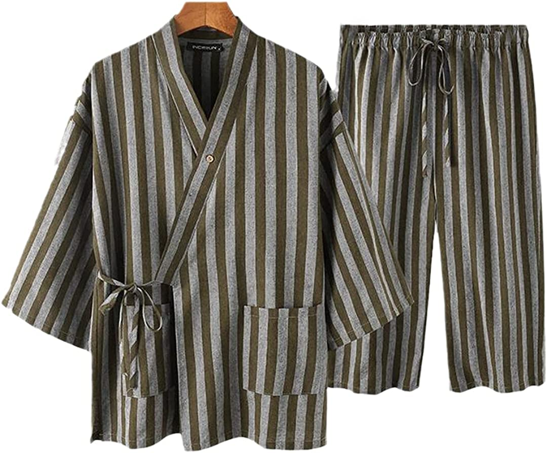XINDSJDS Men Pajamas Discount is also underway Sets Limited time sale Striped Homewear V Neck Sleeve Kim 4 3