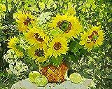 Nonebranded Pintura Por Números Para Adultos Flores Amarillas Kit De Arte Bricolaje Con Pinturas Acrílicas 40X50Cm