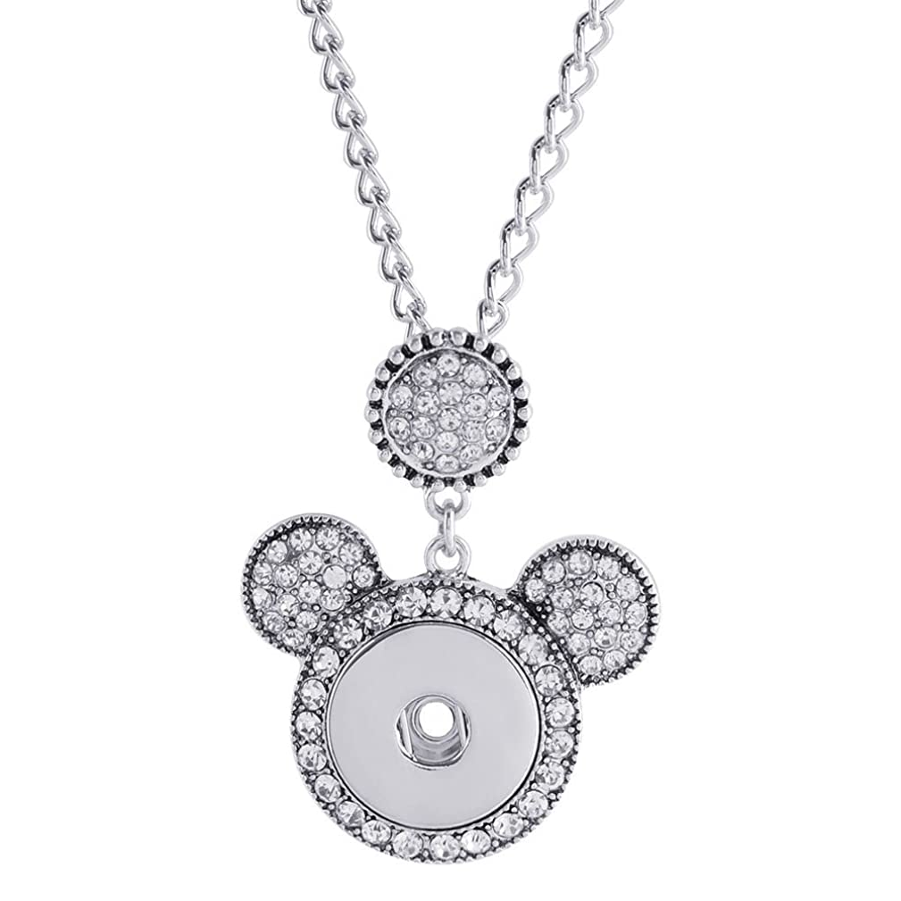Lovmoment Necklace Cute Mouse Head Fit 18MM Snap Button Charms Jewelry