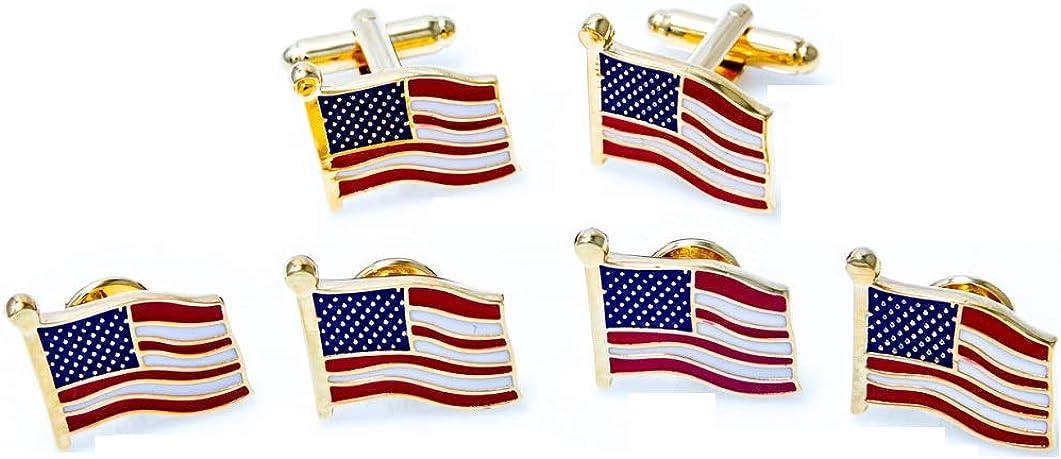 MRCUFF United States of America Flag USA Tuxedo Cufflinks and Studs Set in a Presentation Gift Box & Polishing Cloth