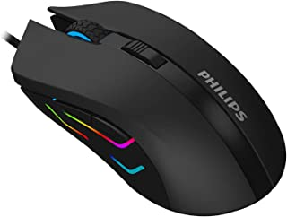 Philips SPK9313 USB Wired Optical Gaming Mouse for PC Laptop Desktop Computers | LED Light | 6 Adjustable DPI Levels