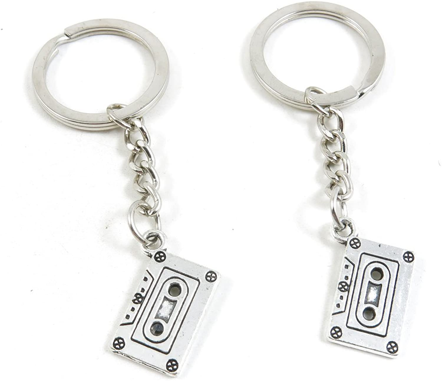 100 Pieces Keychain Keyring Door Car Key Chain Ring Tag Charms Bulk Supply Jewelry Making Clasp Findings N5SI8D Audio Cassette Tapes