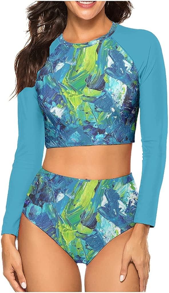 Blue Green Oil Painting Bikini Swimwear Set Sexy Cute Floral Print Rash Guard Long Sleeve High Waist Beachwear for Surfing
