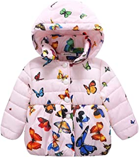 Weixinbuy Baby Girls' Infant Toddler Winter Warm Butterfly Print Hooded Outwear