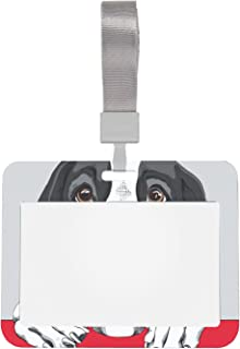 Porte-carte d'identité de 10,2 x 7,6 cm - Motif chien dogue allemand rouge - Pour bureau, école, lieu de travail