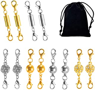 NACTECH 12Pcs Magnetic Lobster Clasps Double Gold and Silver Strong Magnetic Jewelry Closure with Velvet Bag for Necklace Bracelet Pendant Extender