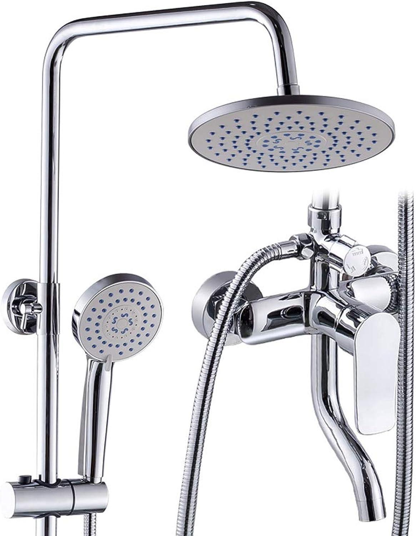 YLLHK Duschsystem, es umfasst Kopfbrause, Handbrause, Badewannenarmatur, Duschstange, Schlauch, 5 Strahlarten (Chrom)