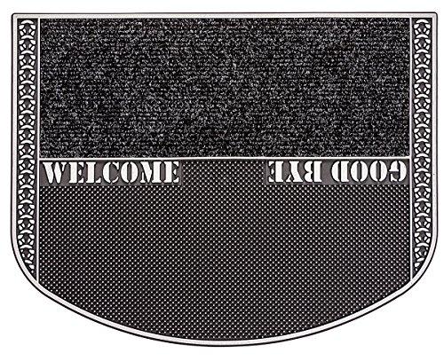 CarFashion Outdoor Fußmatte PUR|TwinClean mit Textileinlage und Scraper-Noppen, TPE-VC 100% Nachhaltig, Anthrazit-Metallic, 78 x 55 cm