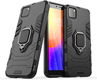FanTing Case for Huawei Y5p, Rugged and shockproof,with mobile phone holder, Cover for Huawei Y5p-Black