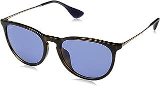RAY-BAN RB4171F Erika Round Asian Fit Sunglasses, Havana/Dark Violet, Dark Violet