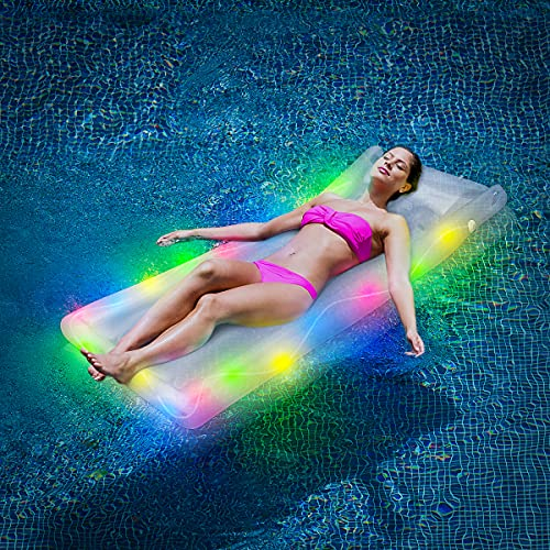 Inflatable Pool Float with LED Light, BicycleStore Illuminated Pool Rafts and Floats Thick PVC...