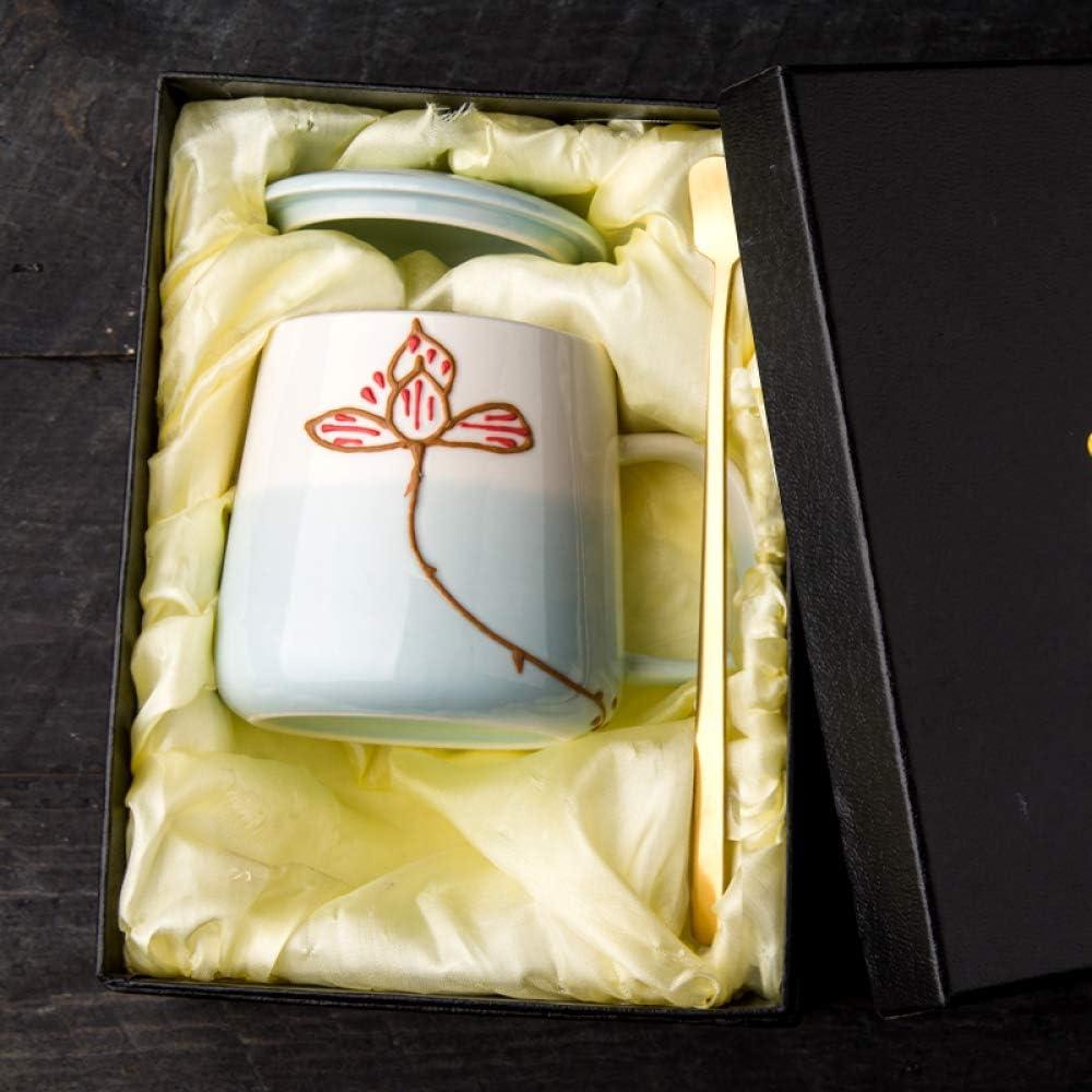 HRDZ Taza de cerámica en Relieve Pintada a Mano sobre Esmalte Creativo Taza de casa Linda Chica con Tapa Cuchara Taza café