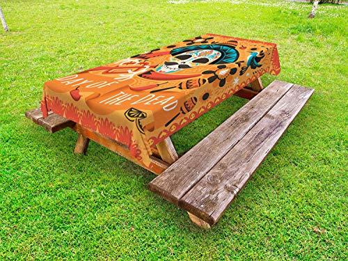 ABAKUHAUS Suiker schedel Tafelkleed voor Buitengebruik, Trompet speler, Decoratief Wasbaar Tafelkleed voor Picknicktafel, 58 x 84 cm, Veelkleurig