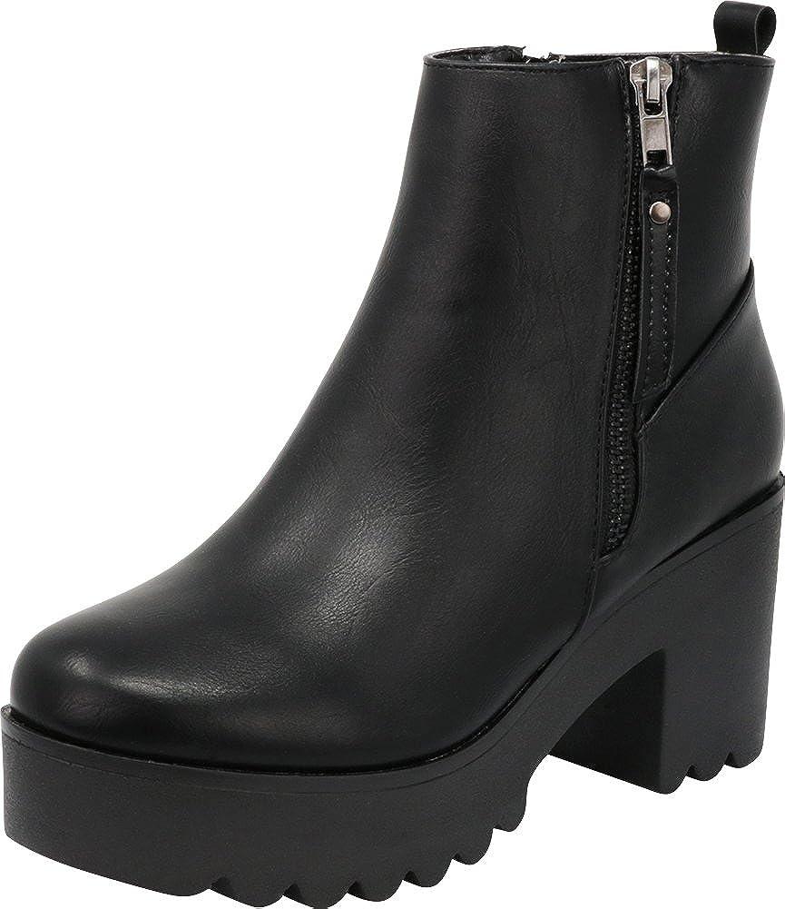 Cambridge Select Women's Side Zip Lug Sole Platform Chunky Block Heel Ankle Bootie