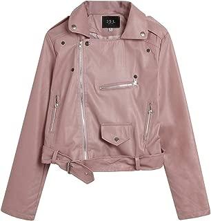 iHHAPY Women Faux Leather Jacket Zipper Biker Jacket Casual Streetwear Pilot Jacket Motorcycle Jacket Transition Jacket