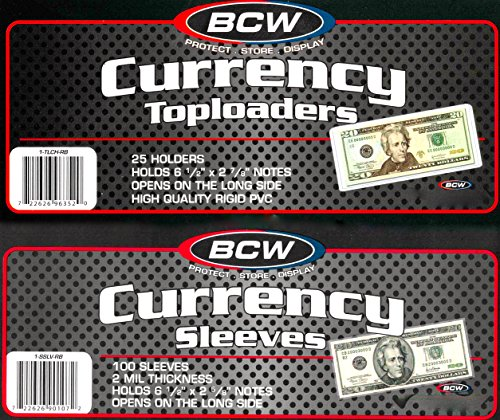 100 Ct. BCW Currency Top Loaders TLCH-RB Rigid Holders For Regular Bills Plus 100 Sleeves