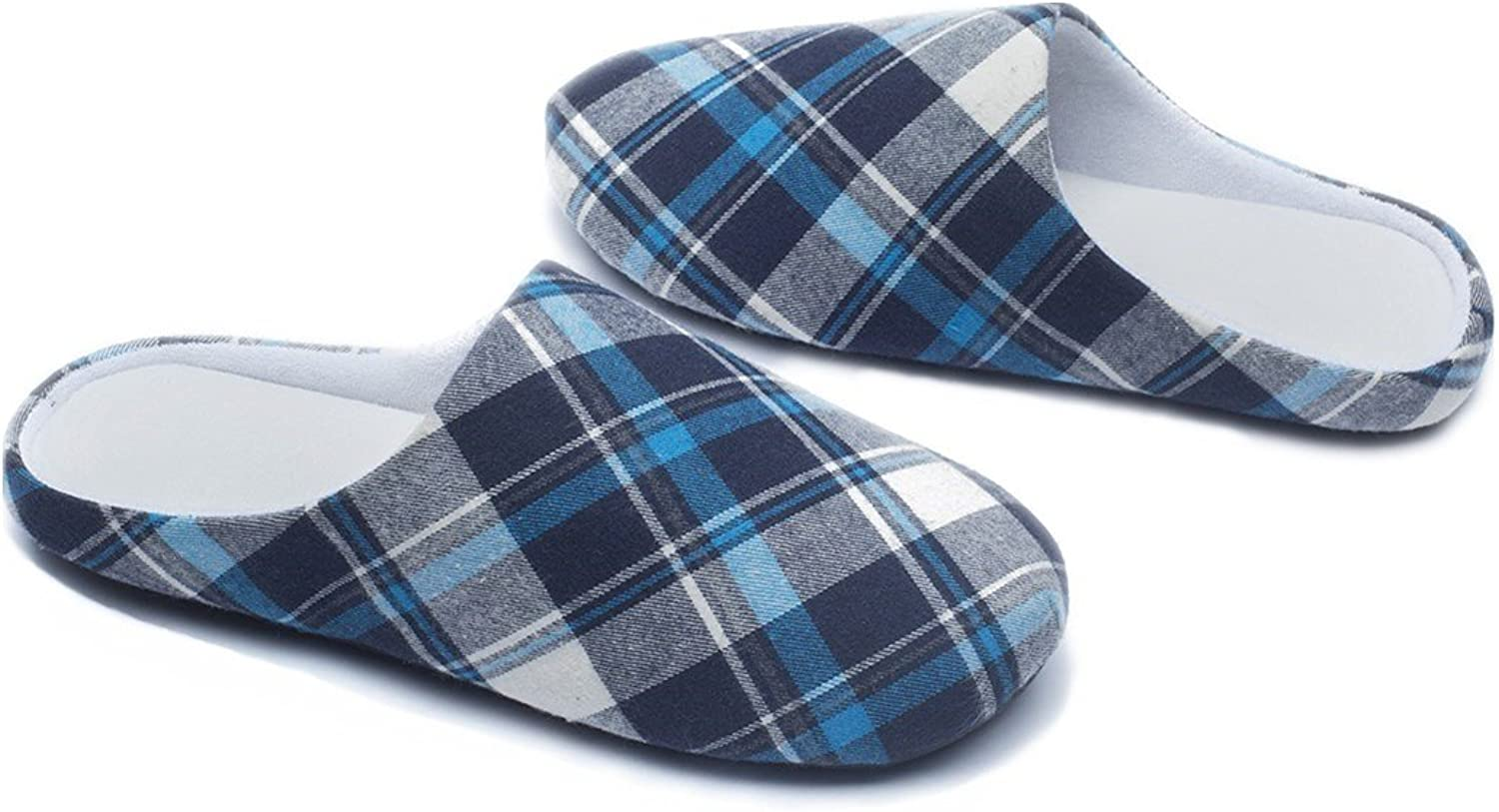 Ofoot Womens Mens Plaid Arch Support House Slippers,Cozy Furry Lining Memory Foam,Anti-Skid Flats(5.5-6.5 B(M) US, bluee)