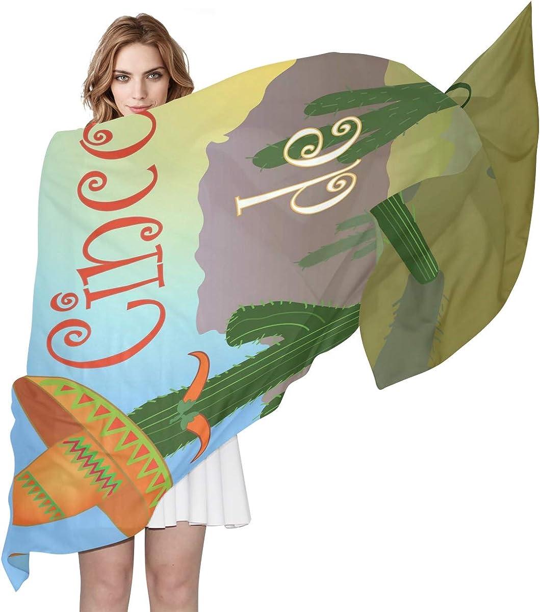 XLING Fashion Scarf Vintage Abstract Tropical Cactus Long Lightweight Sunscreen Scarf Shawl Wrap Muffler Neckerchief for Women Men