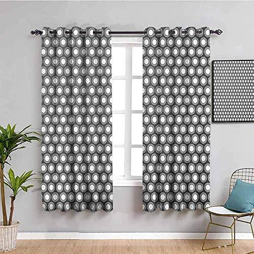Nileco Cortinas de Opacas - Negro blanco círculo patrón - 280x200 cm - 3D Impresión Digital con Ojales Aislamiento Térmico - para Sala Cuarto Comedor Salon Cocina Habitación