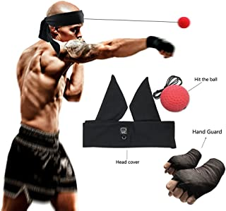 Reflex Boxing Ball, 2 Difficulty Level Speed Balls Headband Hand Wraps (Improve Reactions and Speed) - Reflex Speed Boxing Training/Portable Gym Equipment - for Fitness, UFC and Other Combat