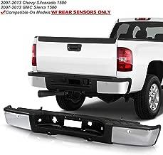 ACANII - For 2007-2013 Chevy silverado/GMC Sierrsa 1500 Chrome Steel Complete Rear Step Bumper w/Sensor Holes Assembly