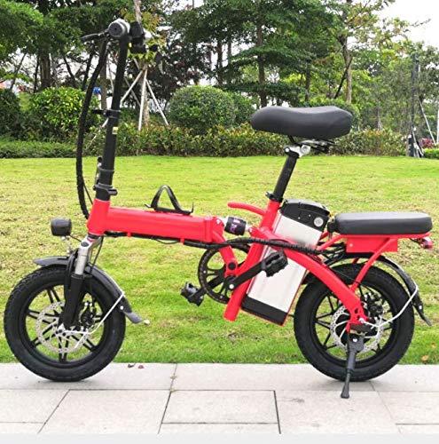 YPLDM Bicicleta eléctrica Plegable Ultraligero portátil de ciclomotor portátil de conducción eléctrico de la batería de Litio Coche,Rojo