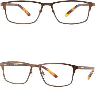 cd88ccf425 Light Mens Titanium Frame Wide Metal Prescription Eyeglasses RX Sunglasses  Brown