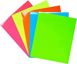 Neon Heat Transfer Vinyl,Neon Color Heat Press Vinyl Iron-on HTV for DIY T-Shirts 、Idea Fabrics 5 Sheets 12x10 inches (Neon Green,Neon Yellow,Neon Pink,Neon Blue,Neon Orange)