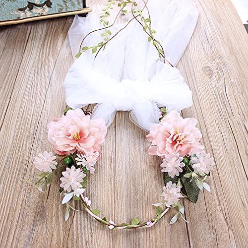 xunyang Baroque Romantic Flower Max 67% OFF Crown White Veil Garland Max 76% OFF Hairban