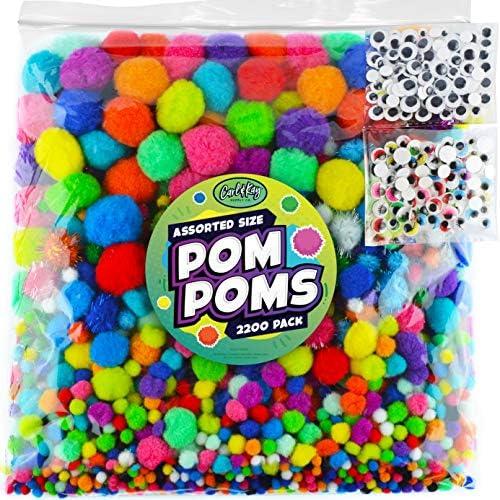 Carl Kay 2200 pcs Jumbo Pom Poms 200 Googly Eyes 2000 Assorted Size Pompoms Bulk Craft Supplies product image