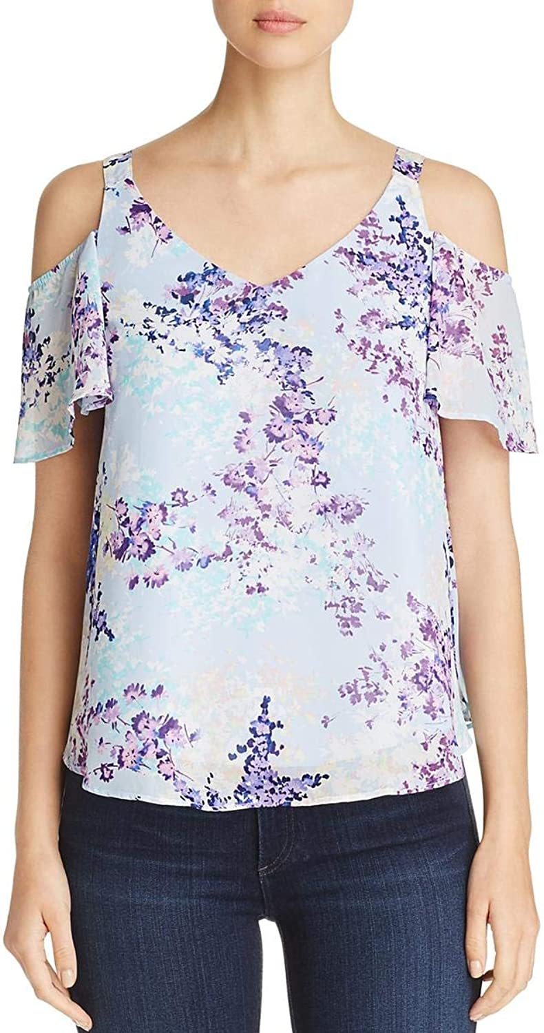 Status by Chenault Womens Floral Print Cold Shoulder Blouse