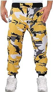 pipigo Men Stitching Elastic Waist Casual Sport Sweatpants Jogger Pants