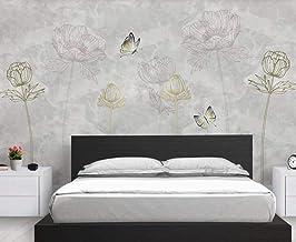 Behang 3D Behang Muurschilderingen Tulp Bloem Vlinder Vintage Muurschildering 3D Slaapkamer Behang voor Woonkamer Muur Pap...