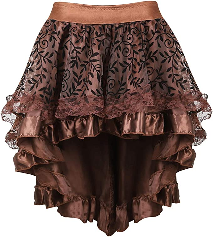 Steampunk Skirts | Bustle Skirts, Lace Skirts, Ruffle Skirts Grebrafan Steampunk Midi Skirt for Women Tulle Multi Layered High Low Outfits Party  AT vintagedancer.com