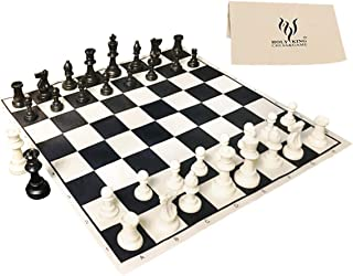 """HOLYKING 19"""" Tournament Cloth Chess Board Set - Portable Travel Chess Game Set Roll Up Combination- Beginner Chess Set for..."""
