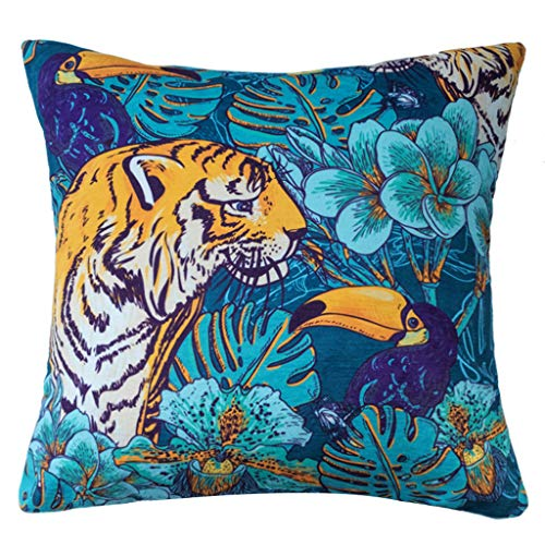gszfsm001 Square Chenille Cushion Cover American Pastoral Style Jungle Leopard Tiger Printed Decorative Pillow Case Suitable for Sofa, Car, Home Office