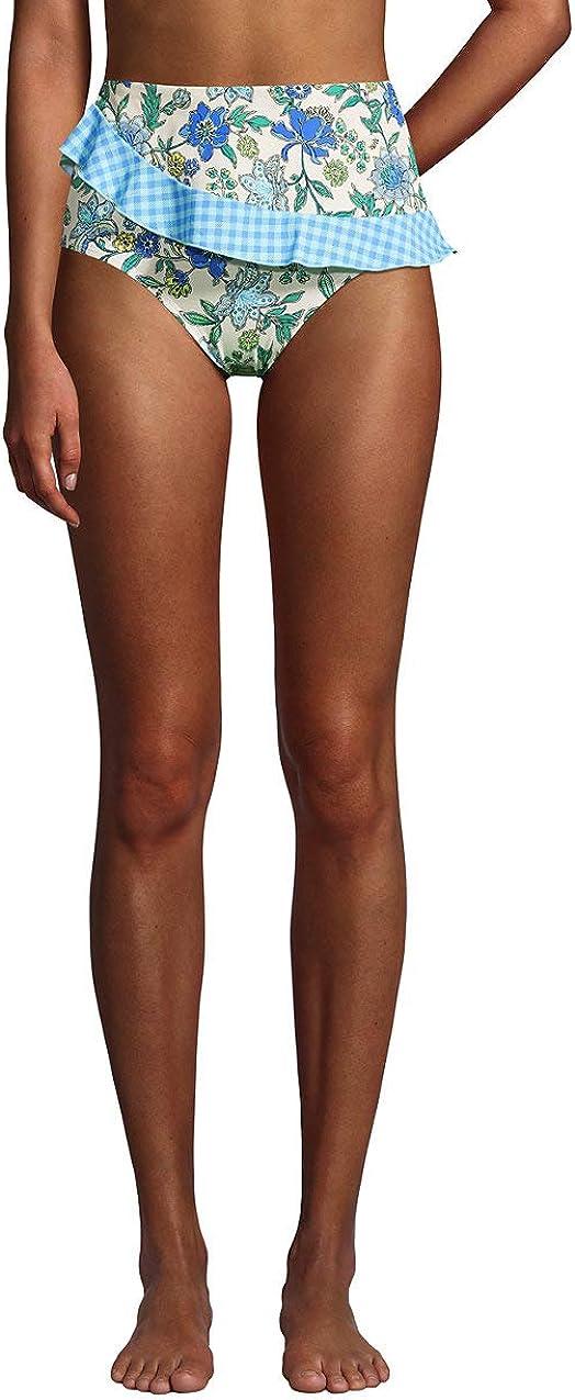Lands' End Women's Plus Size Chlorine Resistant Faux Wrap High Waisted Bikini Bottoms