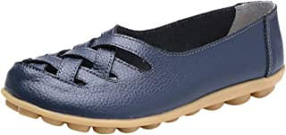 DRV5G7F Flats for Women Casual Comfortable Flats Shallow Women Shoes Solid PU Leather Female Shoes Women Flat Casual Shoes,Dark Blue,38,United States