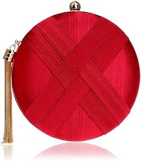 Redland Art Women's Fashion Polyester Woven Round Mini Clutch Bag Wristlet Shoulder Crossbody Evening Handbag Catching Purse for Wedding Party (Color : Red)