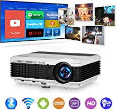 HD Bluetooth Wireless WiFi Projector 1080P LCD LED Smart Multimedia Widescreen Android Projector Zoom Airplay Miracast for Outdoor Movie Home Theater Cinema Smartphone Laptop Blu Ray PC DVD TV Stick