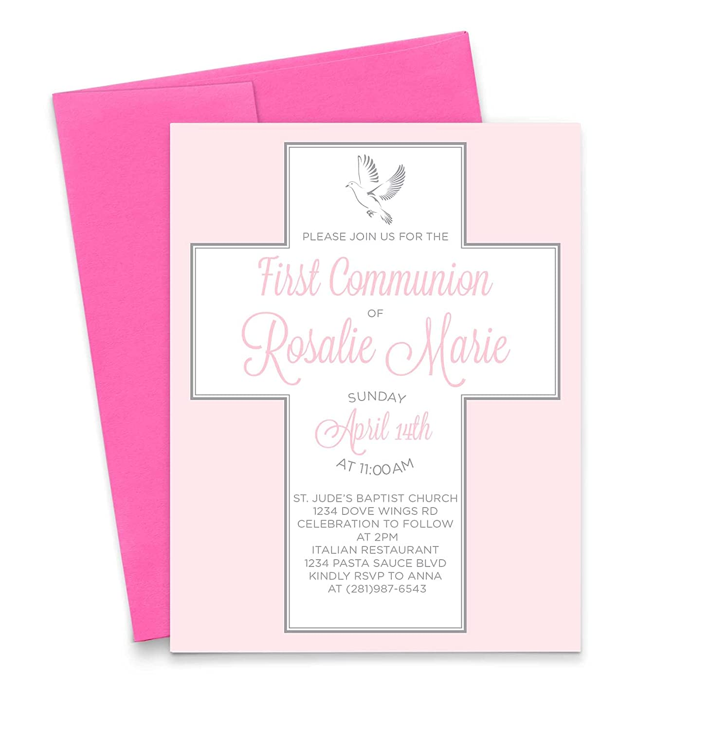 Denver Mall Personalized First Communion Don't miss the campaign Invitations for and M Girls Simple